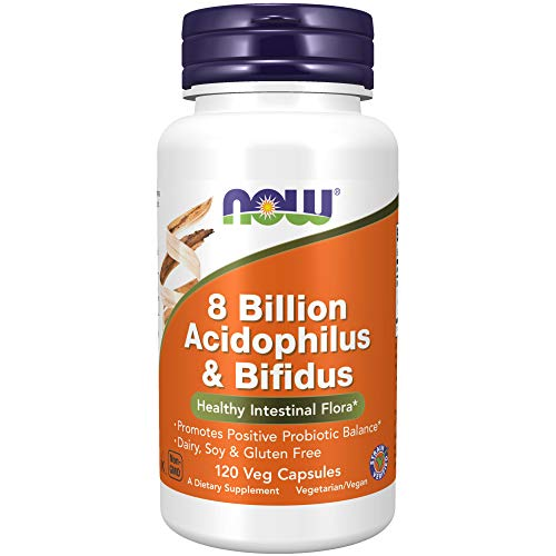 NOW Supplements, 8 Billion Acidophilus & Bifidus, Dairy, Soy and Gluten Free, Strain Verified, 120 Veg Capsules