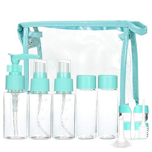 Cizen Set de Botellas Cosméticas (11 Piezas), Recipientes de Viaje para Maquillaje Cosmético, Kit Aseo de Viaje para Avion, Azul