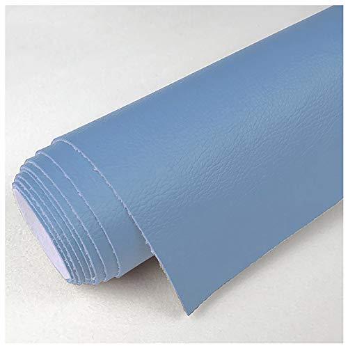 1,2 Mm Sólido Cuero Imitación Tela PU, Tela De Tapicería De Cuero Sintético De Vinilo para Reparación De Sofás Costura Elaboración Proyectos De Bricolaje 138X100CM(Color:8 Blue)