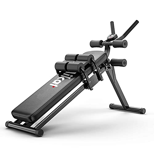 Mikat Sit Up Bench Full Body Foldable Multifunctional Exercise Machines for Home Gym Abdominal Exercise Equipment Ab Workout Equipment for Women and Men with LCD Monitor