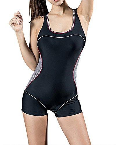 Bañador Pieza Mujer - Traje de Baño - Competición - con Pantalones Cortos EU 42 Raya Negra