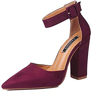 Womens Ankle Strap Pointed Toe Sandal Chunky High Heels Office Pumps