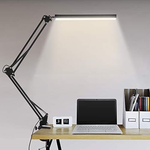 BIENSER Schreibtischlampe LED, 14W Schwenkarm Architektenlampe, Büro Tischlampe mit 3 Farb und 10 Helligkeitsstufen, Augenschutz, Flexibles Klemmlicht, Memory-Funktion, Inklusive CE Adapter - Schwarz