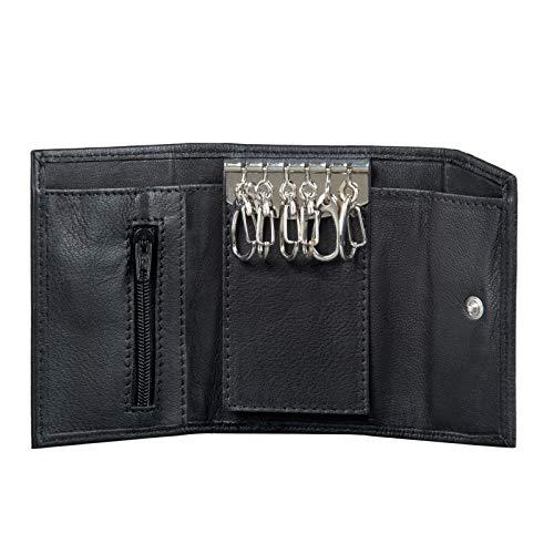 STILORD 'Hendrix' Schlüsselmäppchen mit Geldbörse Leder Schlüsselbörse Vintage Mini Etui Key Organizer Slim Wallet Schlüsseltasche mit Schlüsselanhängern, Farbe:schwarz