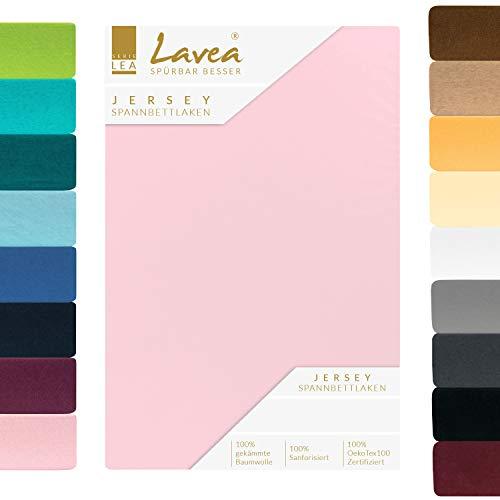 Lavea Jersey Spannbettlaken, Spannbetttuch, Premium Serie LEA, 180x200cm   200x200cm, Rosa, 100% gekämmte Baumwolle, hochwertige Verarbeitung, mit Gummizug und OekoTex100