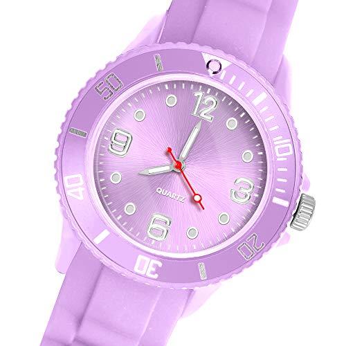 Taffstyle Deutschland Damen Uhr Analog Quarz mit Silikon-Armband Sport Farbige Sportuhr Bunte Armbanduhr Herren Kinder 39mm Flieder