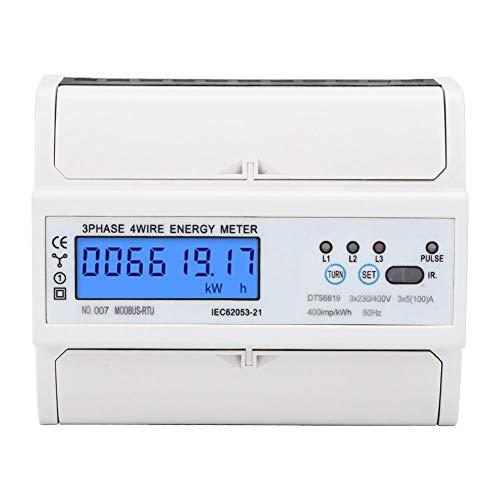 DTS6619-017 3-Phasen-LCD-Digitalanzeige Energiezähler 380V 7P Leistungsmesser mit Hintergrundbeleuchtung Stromzähler Modbus-Kommunikationsprotokoll