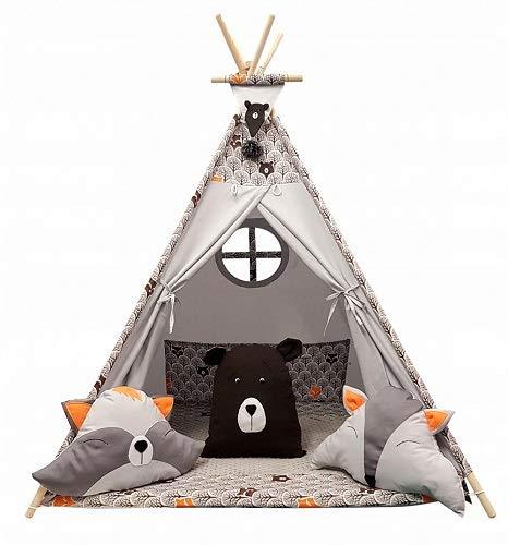 Izabell Kinder Spielzelt Teepee Tipi Set für Kinder drinnen draußen Spielzeug Zelt Indianer Indianertipi mit Fenster Tipi mit Zubehör Tipizelt (braun)