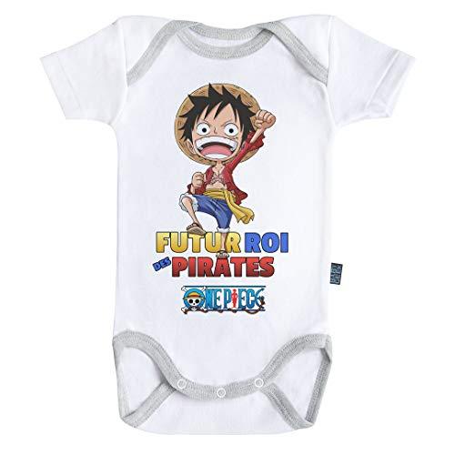 Baby Geek Futur Roi des Pirates - Luffy - One Piece ™ - Licence Officielle - Body Bébé Manches Courtes couleur Blanc (3-6 Mois)