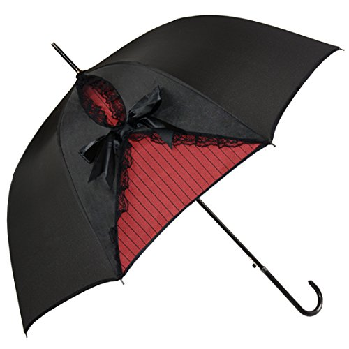 Kung Fu Smith Black Lace Parasol Umbrella for Women, Vintage Victorian Windproof Umbrella, British London Rain Umbrella, UV Protection