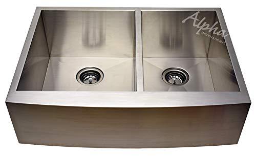 "Alpha 30"" Stainless Steel Apron Farmhouse 60/40 Double Bowl 16 Gauge Undermount Kitchen Sink"