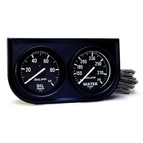 AUTO METER 2392 Autogage Black Oil/Water Gauge with Steel Console Autometer Autogage Mechanical Oil