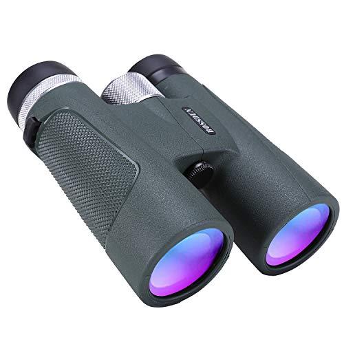 Prismáticos 12x42 para Adultos, Binoculares HD Clarity Duraderos para Observación de Aves, Caza, Observación de Vida Silvestre, Eventos Deportivos, con Estuche de Transporte,Tapa de Lente con Correa
