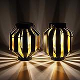Gadgy Illuminazione Solare Del Giardino Nero e Oro | Set Di 2 | Lanterne Solari | Lampade da Esterno A Led | Lampada Da Tavolo e Terrazzo In Metallo