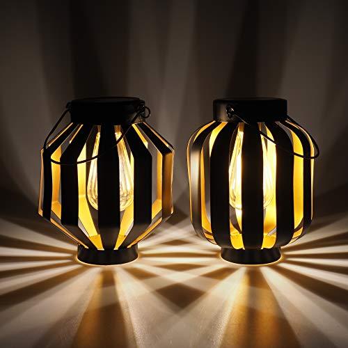 Gadgy Solarlampen für Außen Hängend | 2 Stück | Schwarz/Gold Metal | Solar-Laternen mit LED-Glühbirne | Laterne für den Garten | Deko Lampen für draußen