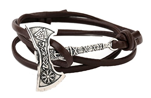 TEAMER Pulsera Vikingo Hacha Yelmo de Awe Amuleto Valknut Pulsera Vikingo Norse