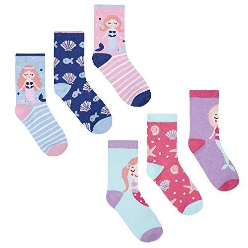 Adventure Togs Niños Algodón Ricos Calcetines - Suave, Cómodo, Elástico, Diseños Divertidos - Sirena, (EU 23-26)