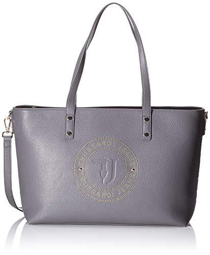 Trussardi Jeans Harper Shopper LG Tumbled Ecol, Borsa a Spalla Donna, Grigio (Anthracite/Gold), 28x15x37 cm (W x H x L)