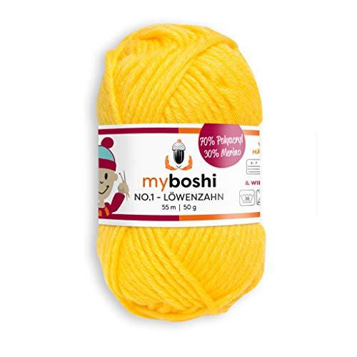 myboshi, No.1 Wolle, 70% Polyacryl, 30% Merinowolle, Löwenzahn, 50g, 55m, 1 Knäuel, Garn zum Häkeln und Stricken, Formstabil, Pflegeleicht