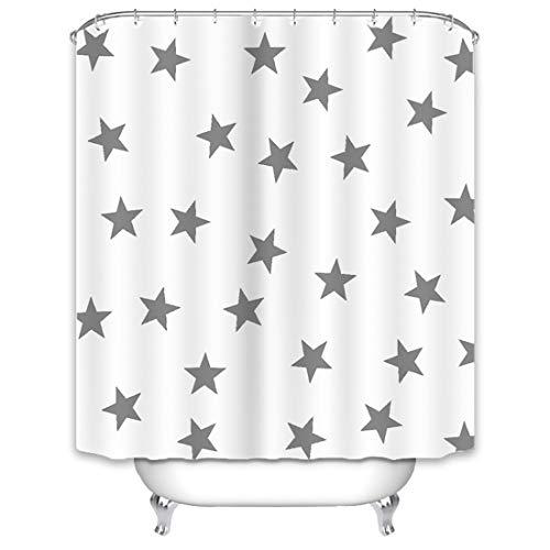X-Labor Stern Duschvorhang 240x200cm Wasserabweisend Stoff Anti-Schimmel inkl. 12 Duschvorhangringe Waschbar Badewannevorhang 240x200cm Weiß