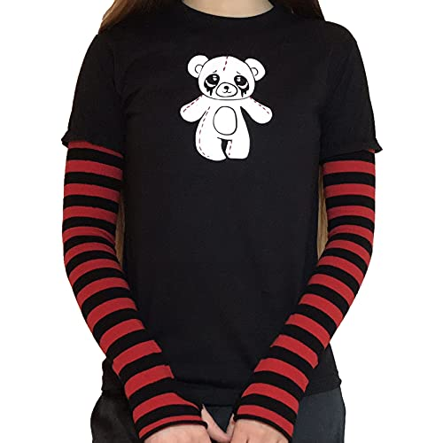 Camiseta de manga larga con estampado de dibujos animados para mujer con estampado de patchwork y bloque de color para mujer, Oso Rojo Negro, S