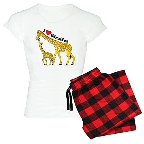 CafePress I Love Giraffes Womens Novelty Cotton Pajama Set, Comfortable PJ Sleepwear