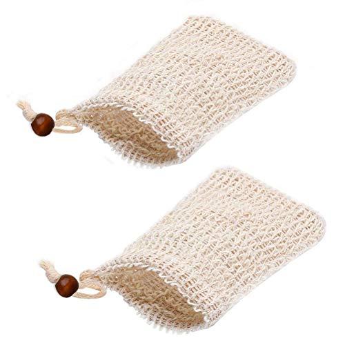 nuoshen 2 Seifenbeutel, Seifensäckchen Seifennetz Bio Seifensäckchen Sisal Seifenbeutel für Seifenreste Natur Seifentasche für Trocknen und Aufschäumen der Seife, für Körper-Peeling und Massage