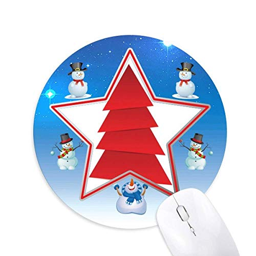 DIYthinker Abstract Christmas Tree Patron de Origami Muñeco de Nieve Mouse Pad Redondo Star Mat
