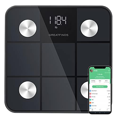 Körperfettwaage, Personenwaage Digital mit App, Smart Digitale Waage für Körperfett, BMI, Gewicht, Muskelmasse, Protein, BMR, Bis 180kg (Schwarz)