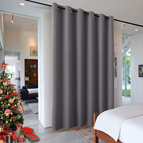 RYB HOME Portable Room Divider Curtain, Noise Reduction Privacy Protection Heavy Duty Grommet Top Curtain Panel for Living Room/Locker Shelf/Dorm Decor, 9 ft Tall x 10 ft Wide, Gray, 1 Pack