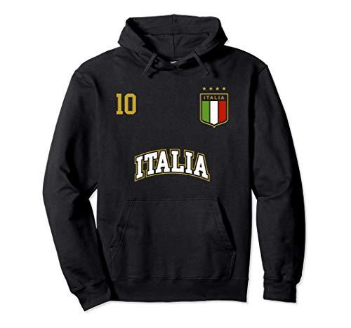 Squadra Calcio Italia Numero 10 Bandiera Italiano Felpa con Cappuccio