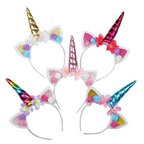 EKKONG Diademas de Unicornio con Flores, 5 Unids Disfraz de Unicornio para Niñas Adulto, Decoracion Unicornio para Cumpleaños Fiesta Unicornio Cosplay