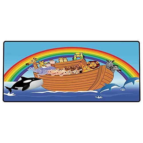 Alfombrilla de ratón para Juegos 600 x 300x3 mm,Arca de Noé, Arca de Noé con Divertidos Animales Lindos Delfines Nadando en impresión de diseño a Base de Goma Antideslizante, Adecuada para Jugadores