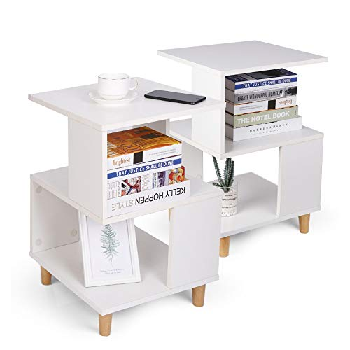 amzdeal Table de Chevet lot de 2,Table de Chevet,Table d'Appoint avec Compartiment Ouvert, Montage Facile, pour Salon, Chambre, Couloir, Bureau, Blanc40x40x60cm (LxWxH)