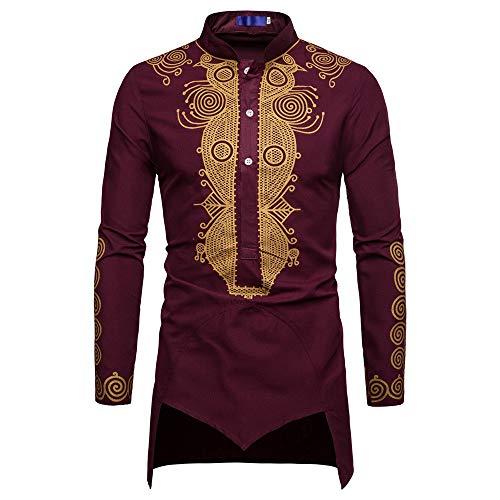Hroijsl Herren Herbst Winter African Print Langarm Dashiki Shirt Top Bluse Ethnisches Langarmhemd Im Afrikanischen Stil Für