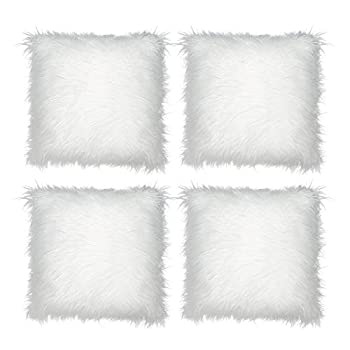 Tebery 4 Pack Decorative New Luxury Series Merino Style White Fur Throw Pillow Case Covers Cushion Cover - 18 x 18 Inches