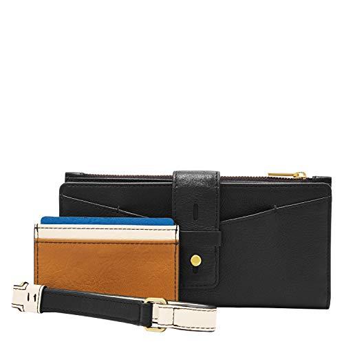Fossil Women's Willa Leather Slim Tab Bifold Wallet, Black