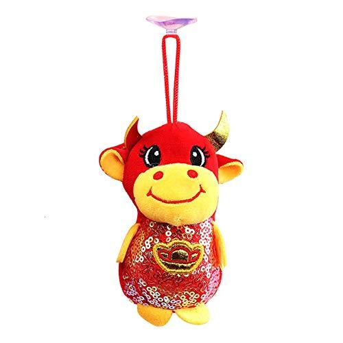 2021 Chinese New Year Ox Ornament, Dekoration Viel Glück Plüsch Rot Maskottchen Rinder Kuh Kuscheltier Tischregal Dekor Home Figuren