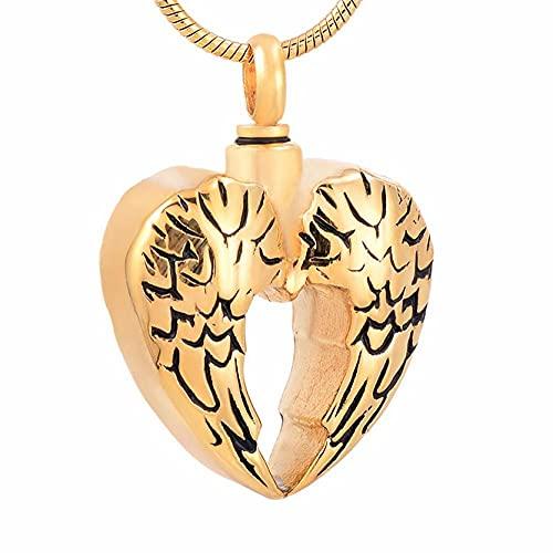 BHSICSACLJ 316L Wings Heart 2017 Collar de diseño para Cenizas Urna de cremación Colgante de Recuerdo Joyería-3