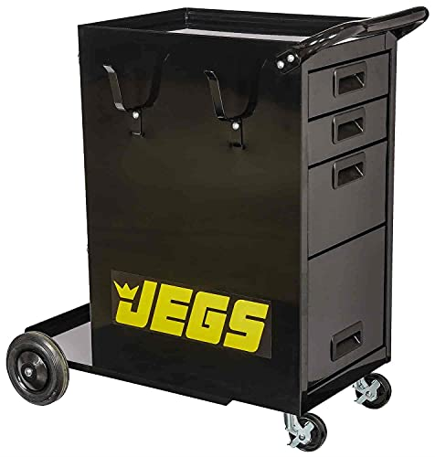 JEGS Welding Cart With Drawers | Dimensions: 33 1/2 in. L x 18 1/2 in. W x 33 in. H | Black Powder...