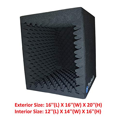 TroyStudio Portable Sound Recording Vocal Booth Box -  Reflection Filter & Microphone Isolation Shied  -  Large, Foldable, Stand Mountable, Super Dense Sound Absorbing Foam (Black)