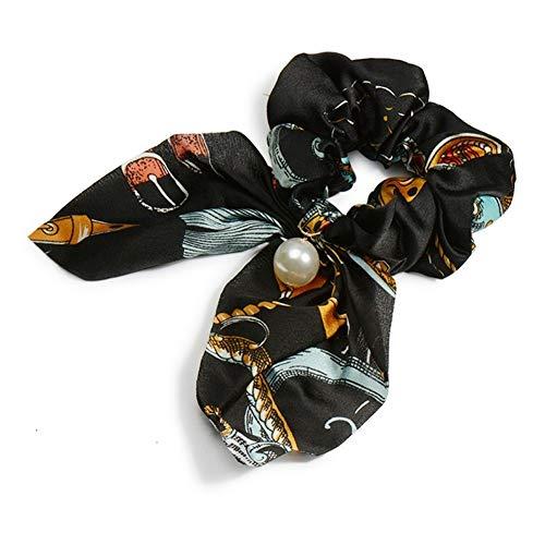 ZANGAO Mousseline De Soie Cheveux Chouchous Femmes FashionPonytail Holder Tie Cheveux Cheveux Élastiques Corde Accessoires Cheveux Couvre-Chef (Color : T2 Black Light Blue)