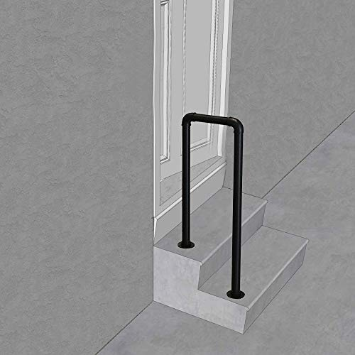 ZzJj - Handrails Picket # 1 Fits 1 or 2 Steps Transition Handrails Matte Black Wrought Iron Stair Railings,for Porch Garden Outdoor Disabled Elderly and Child Safety Support Poles