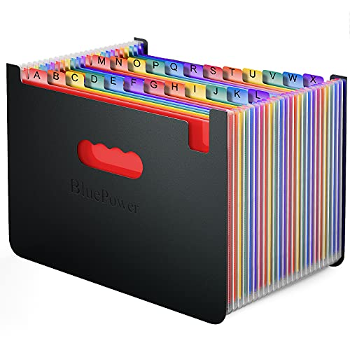 24 Pockets Accordian File Folder Organizer, Portable Expanding Filing Box,Accordion Plastic Folders, A4 Letter Size Expandable Document Organizer Wallet for Check/Bill/Receipt/Paper(2 Tabs Included)