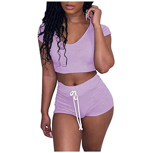 Trajes para mujer de 2 piezas de conjuntos de manga corta acanalada tops y pantalones cortos casuales de color sólido ropa de estar deportiva traje