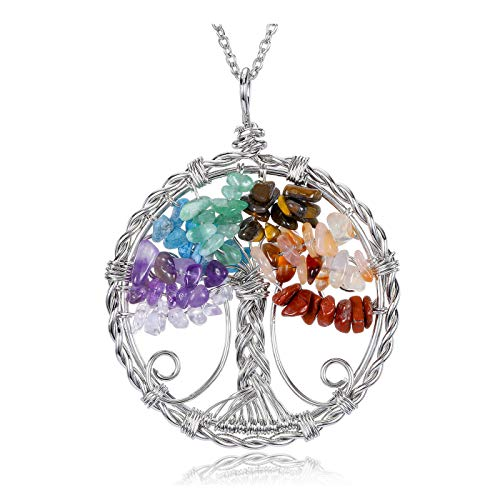 JOVIVI 7 Chakra Tree of Life Healing Crystals Gemstones Pendant Necklace Natural Stone Rainbow Quartz Silver Wire Wrapped Necklace Jewellery for Women Girls Gifts