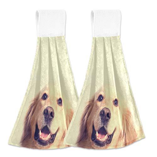 Toallas de cocina para colgar 2 piezas – Lindo Golden Retriever perro colgando bucles suaves de terciopelo coral súper absorbentes toallas de mano para sala de estar