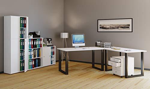 VCM Eckschreibtisch, Schreibtisch, Büromöbel, Computertisch, Winkeltisch, Tisch, Büro, Lona 160x160x80: Weiß