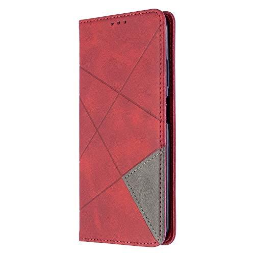 Búmina - Funda para iPhone 12 de 6 pulgadas, de piel sintética, con cierre magnético, ranuras para tarjetas, protección completa para iPhone 12 de 6 pulgadas rojo rosso iPhone 12 6.1 inch