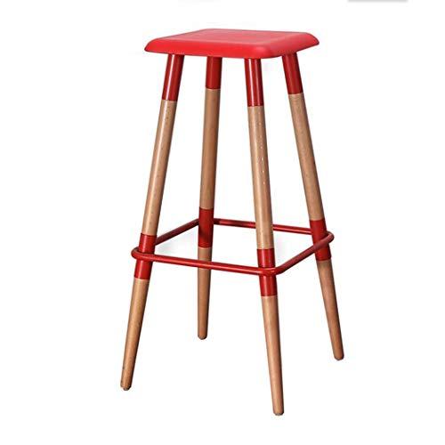 JQQJ bartafel met barkruk massief houten barstoel eenvoudig hoog voet vierkante kruk creatieve barkruk barkruk hoge stoel